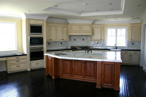 white kitchen island with top brown wooden kitchen island with white granite countertop