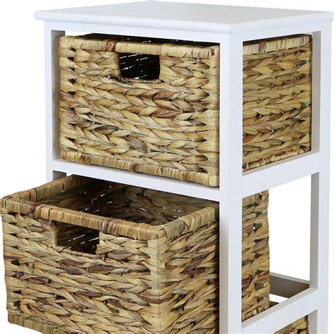 White Wicker Bathroom Drawers by Hartleys White 3 Basket Chest Home Storage Unit Wicker