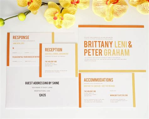 orange modern wedding invitations with stripes wedding invitations