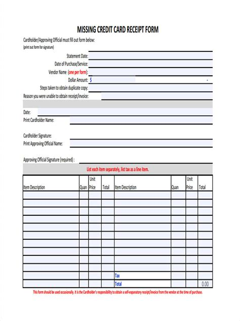 Missing Credit Card Receipt Form Template by 4 Lost Receipt Forms Free Sles Exles Format