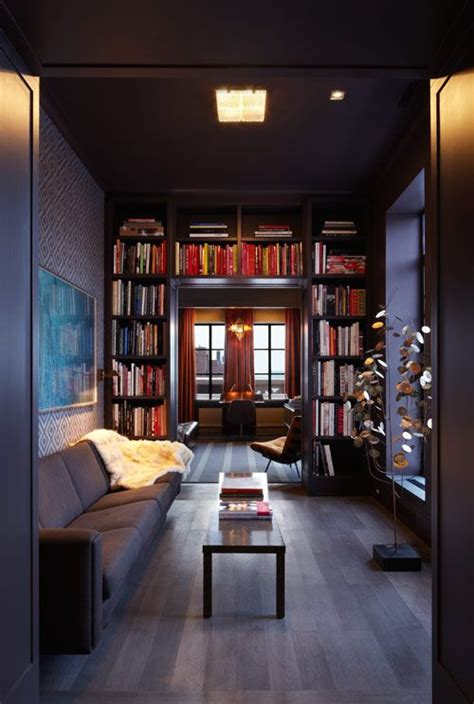 Living Room With Library by 1000 Ideas About Narrow Living Room On