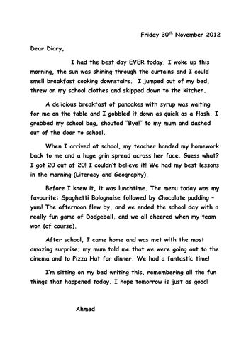 dear diary template ks2 wagoll diary entry by sh2810 teaching resources tes