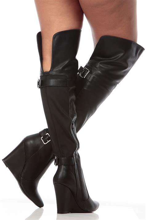 wedge thigh high boots boot yc