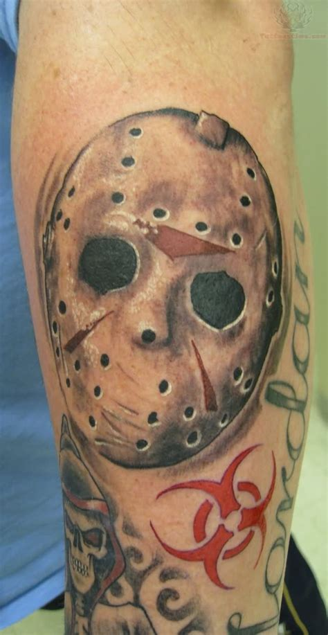 jason mask tattoo jason vorhees mask on left sleeve