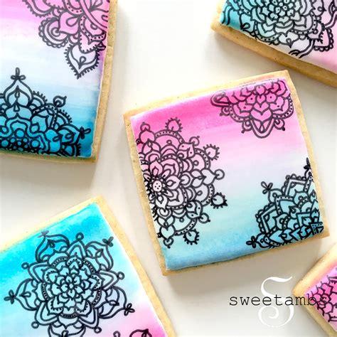 watercolor mandala tutorial watercolor mandala cookies sweetambssweetambs