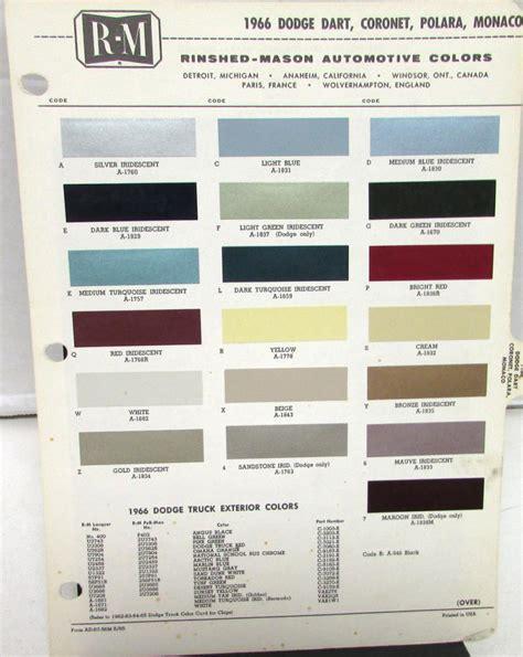 1966 dodge r m color paint chips selector leaflet codes dart coronet polara