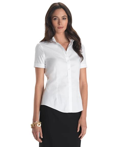 womens dress shirts brooks brothers petite non iron tailored fit short sleeve