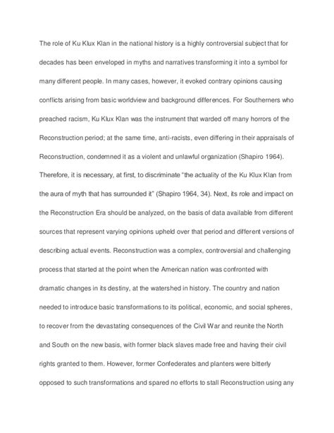 Kkk Essay by To What Extent Was The Ku Klux Klan Responsible For The Failures Of R