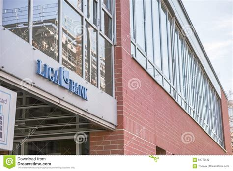liga bank banking liga bank editorial photography image of sign building