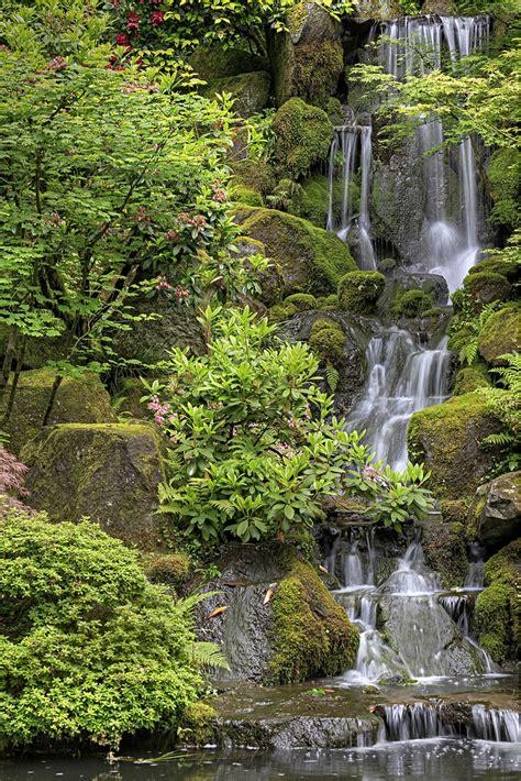 waterfall  portland japanese garden hdr