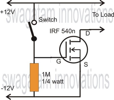 transistor fet de junção simple mosfet switch circuit with delay timer circuit diagram centre