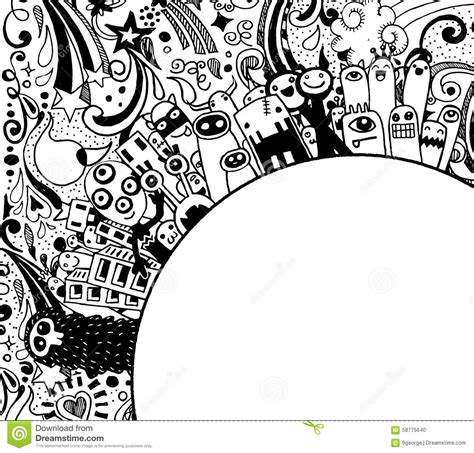 doodle drawing illustrator monsters population of our world stock vector image