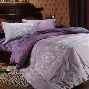 Purple pink forest scene tree top print full queen size bedding sets