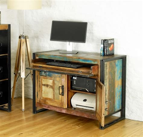 baudouin shabby chic hidden home office computer desk vintage reclaimed lumber contemporary