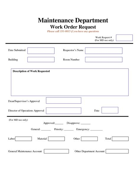 Maintenance Request Card Template by Work Request Form Maintenance Work Order Request Form
