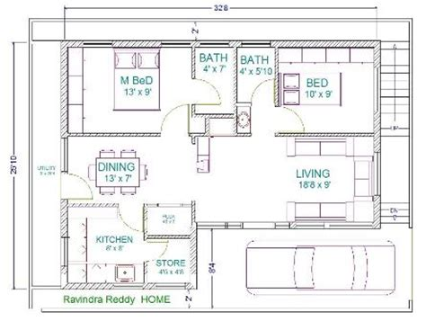 30' x 22' floor plans | 30x40 house plans home plans