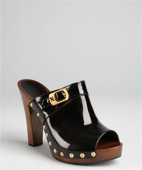 Fendi Peep Toe Leather Platforms by Fendi Black Patent Leather Studded Peep Toe Platform Clogs