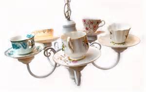 Tea Cup Chandelier Handmade Teacup Chandelier Using Repurposed Light Fixture And