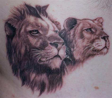 rusty wisdom lion and lioness tattoo by pat at pacific