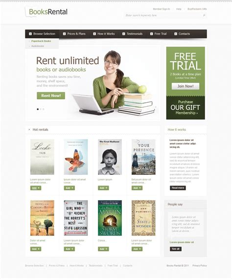 Book Store Website Template 37195 Bookstore Website Template