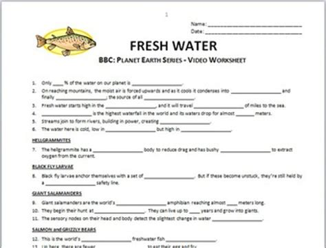 Planet Earth Freshwater Worksheet by Planet Earth Fresh Water By Tangstar Science