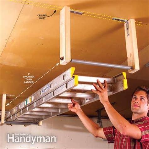 Ladder Storage In Garage by Easy Garage Storage Solutions The Family Handyman