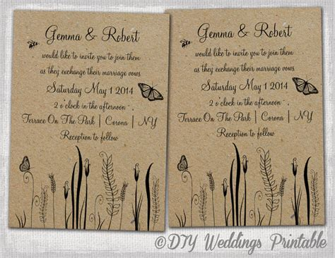 rustic wedding invite template rustic wedding invitations template by diyweddingsprintable