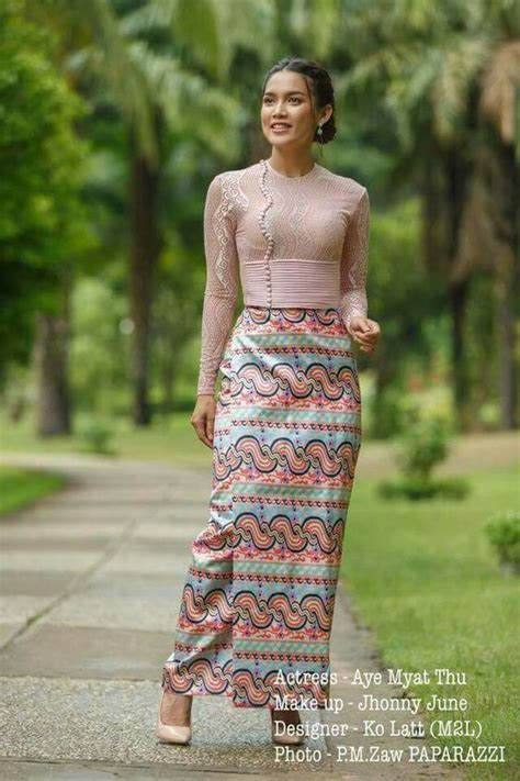 myanmar burmese traditional lace dresses fashion