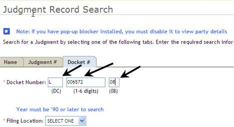 Search Court By Number Search By Docket Number