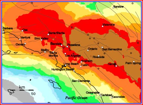 southern california earthquake map california map
