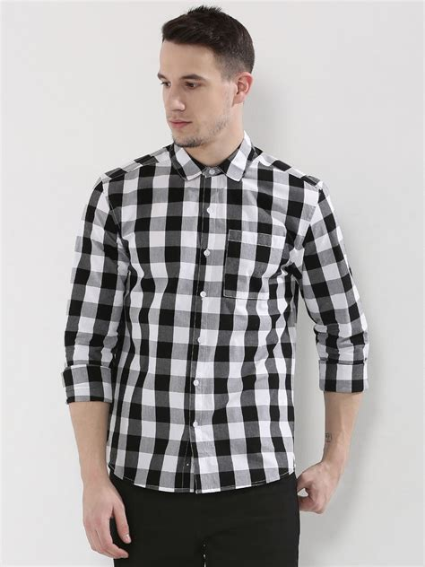 Blouse Jumbo Menmen buy large grid check shirt for s black white casual shirts in india