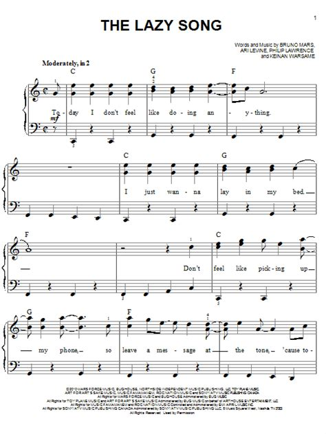 the lazy song sheet music by bruno mars easy piano 80514