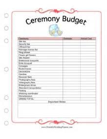 ceremony budget