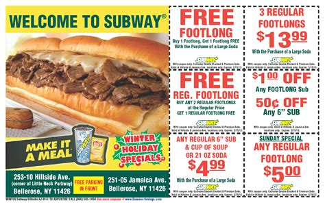 printable subway coupons save money with subway coupons
