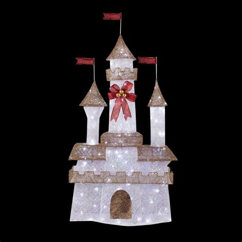 home accents holiday 6 ft pre lit twinkling castle ty373 1411 the home depot