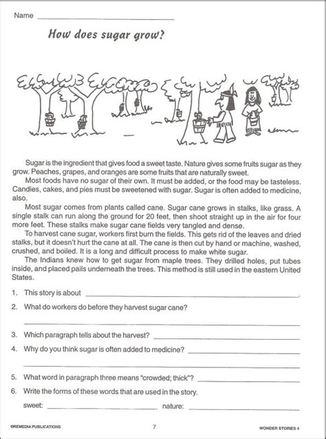 Grade 4 Comprehension Worksheets Free by Comprehension Stories For Grade4 Lesupercoin Printables