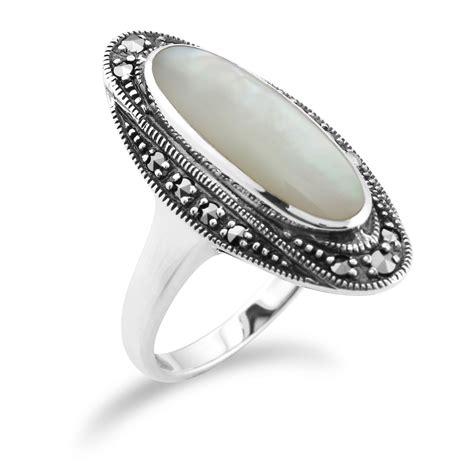 925 sterling silver deco 1 3ct shell of pearl