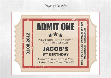 printable tickets invitations personalized kids movie ticket party invitation