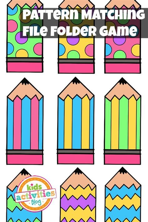 pattern math games pattern matching free printable file folder game for
