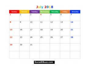 Kalender Juli 2018 July 2018 Calendar Printable Template With Holidays Pdf Usa Uk