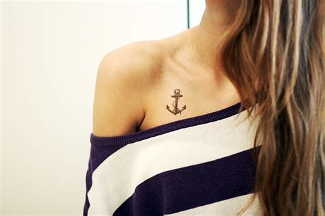 small anchor tattoos for women small rope anchor on collarbone for