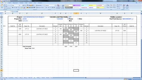electrical load schedule template onbekende domeinnaam