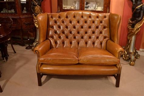cognac leather chair and ottoman english handmade leather club settee sofa cognac for sale