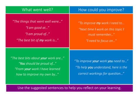 selves in a sentence self and peer assessment sentence starter mats by