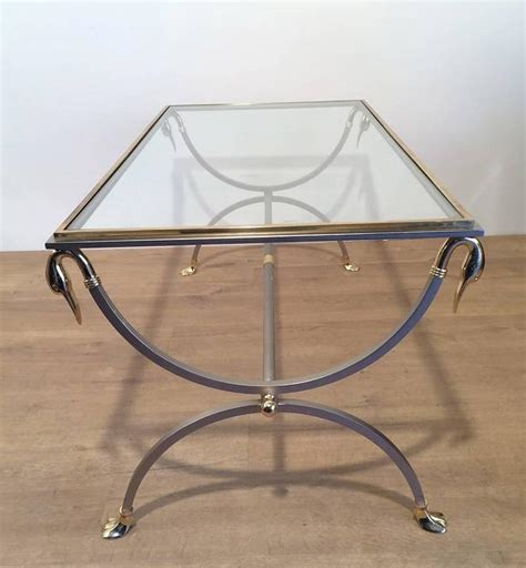 02539d Oval Swan Coffee brass and brushed steel coffee table with swan heads attributed to maison jansen for sale at 1stdibs