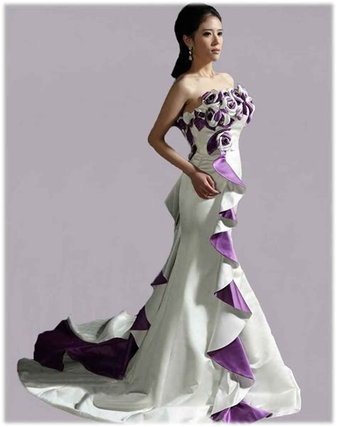 White Purple Dress wedding dresses white and purple discount wedding dresses