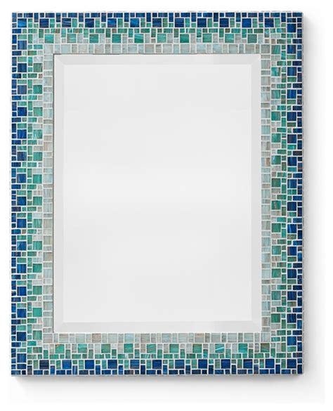 bathroom mosaic mirror ocean blue mosaic mirror classic collection beach style bathroom mirrors other