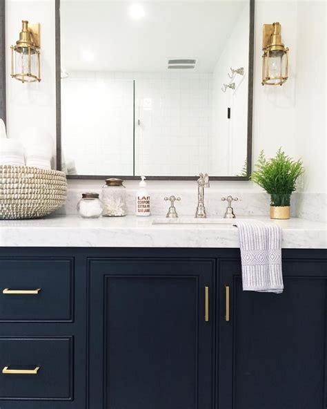 Blue Bathroom Vanity - navy vanity gold hardware marble vanity gold sconces