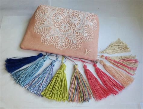 Pouch Handmade - bridesmaid bag blush pink linen and vintage white doily