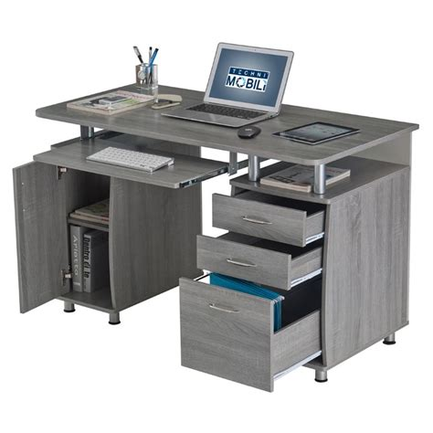 Workstation Computer Desk Techni Mobili Complete Workstation Computer Desk In Gray Rta 4985 Gry